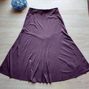 J.Jill Velvet Flare Maxi Skirt Elastic Waist Brown